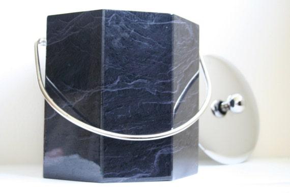 Elegance by Kraftware Faux Marble Octagonal 3 Quart Ice Bucket