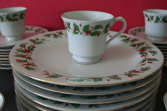 china pearl fine china noel pattern christmas service by vintiqued
