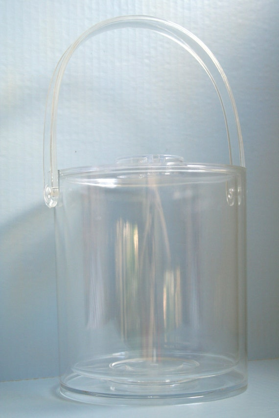Retro Lucite Ice Bucket with Liner and Handle