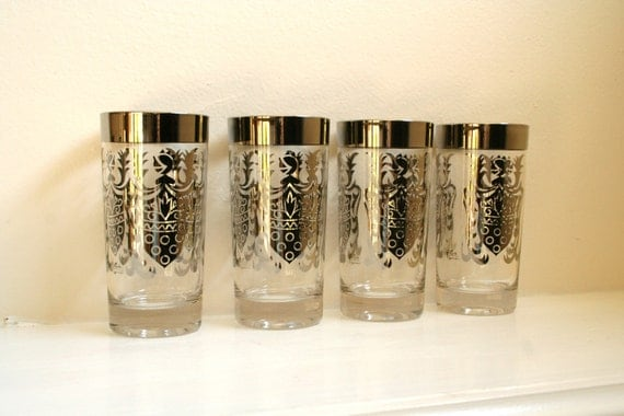 Vintage Signed Guardian Service Silver Crested Mad Men Mod Highball Tumblers