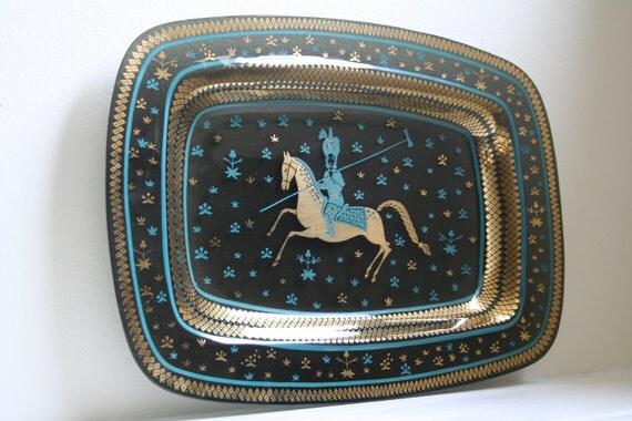 Rare Large Mid Century Persian Arabian Nights Polo Player Glass Platter