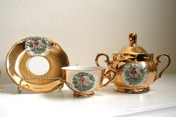 Gold Bavaria Tea Cup Set Demitasse Sugar Bowl
