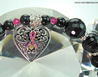"19"" Black Onyx Gemstone & Swarovski Crystal Necklace With Sterling Silver Cancer Awareness Heart Pendant"
