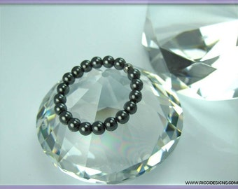 Mens or Womans Round Hematite Gemstone Bead Ring