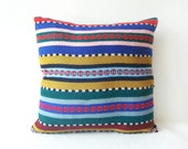 Kilim Pillow Cover - Bright Stripes - Romanian kilim rug pillow case - upcycled kilim runner rug - throw pillow decorative pillow - 18x18