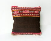 Kilim Rustic modern Bohemian throw pillow Antique Peruvian Hand Woven Pillow Cover wool vintage handwoven turkish kilim pillow case 16 x 16