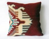 Kilim Rustic modern Bohemian throw pillow Antique geometric Hand Woven Pillow Cover wool vintage handwoven turkish kilim pillow case 16x16