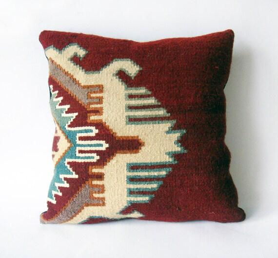 Items similar to Kilim Rustic modern Bohemian throw pillow Antique geometric Hand Woven Pillow ...