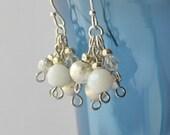 White Dangle Earrings, Beaded Dangle Earrings, White Cluster Earrings