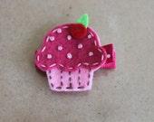 Girls Hair Clip Set - Felt Hair Clip - Felt Cupcake Hair Clip-