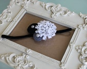 Baby Headband-Newborn Headband-Toddler-Infant-Photo Prop Black, White, & Gray Handmade Felt flowers on a white lace band