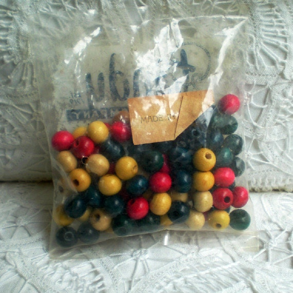 SPRING SALE: Mixed bag of Wooden Beads Made in Japan - yellow, red, green, blue, natural