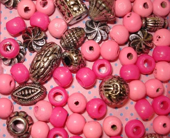 Pink Wooden Beads Pink kandi beads Pony beads Pink Beads