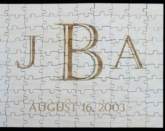 "240 Piece Guest Book Alternative Puzzle Laser Engraved 35"" X 23.5"" 240 Pieces Wood"