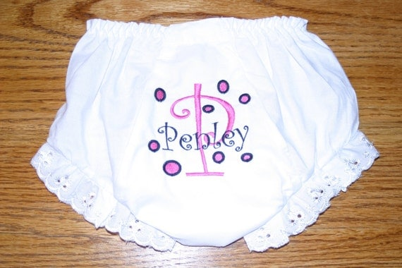 Diaper Cover Embroidered 0-6 Months, 6-12 months, 12-18 months, 18-24 months (2T), 3T or 4T  Monogrammed Initial Name Dots