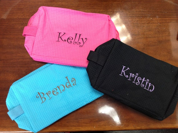 Set of 7 Cosmetic Bags - Monogrammed, Embroidered, Bridesmaid, Teacher Gift, Bridal Party