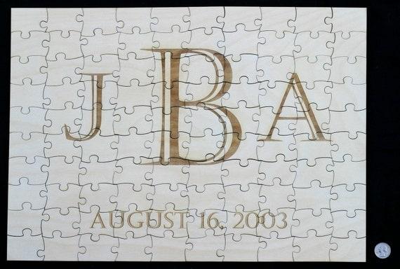"110 Piece Guest Book Alternative Puzzle Laser Engraved 21"" X 15"" 110 Pieces Wood"