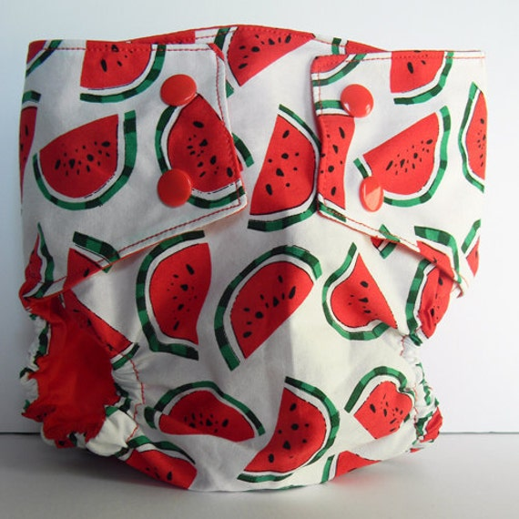 Watermelon Water Resistant PUL Diaper Cover Available in Large