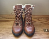 Vintage Bandits Brown Lace Up Faux Shearling Lined Bootie Sz. 5.5
