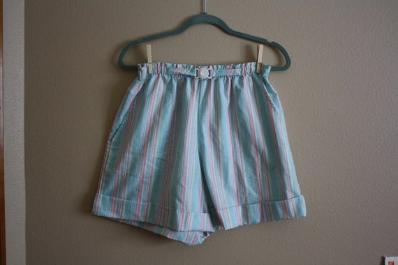 RESERVE E.Ballinger 11/22 - SALE Vintage 1960s Cotton Candy Colored Striped Elastic Belted High Waist Shorts sz.L