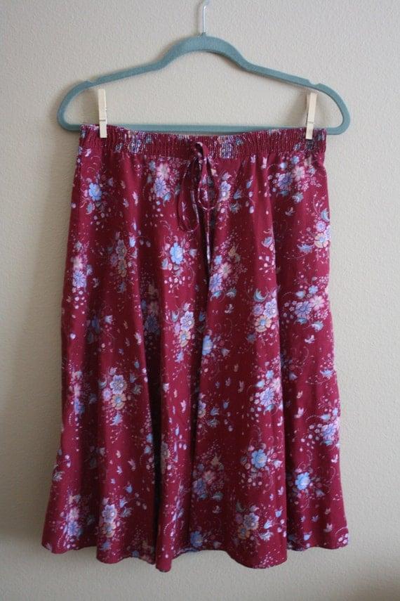 Vintage 1970s Maroon Floral Midi Skirt Tie Elastic Waist Sz. M/L