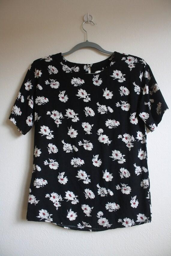 SALE Vintage 1990s Black Floral Print Oversized Blouse Sz. S/M/L