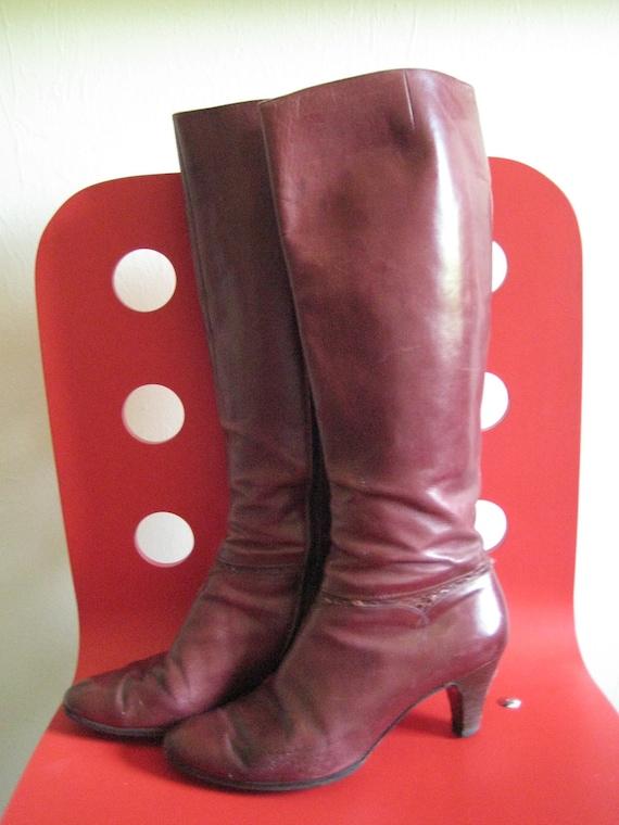 Vintage Salvatore Ferragamo Burgundy Oxblood Leather Tall Zip Heel Boots 10 B