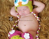 Crochet Baby Owl Hat and Leg Warmers Newborn to 4T Great for Halloween costume!