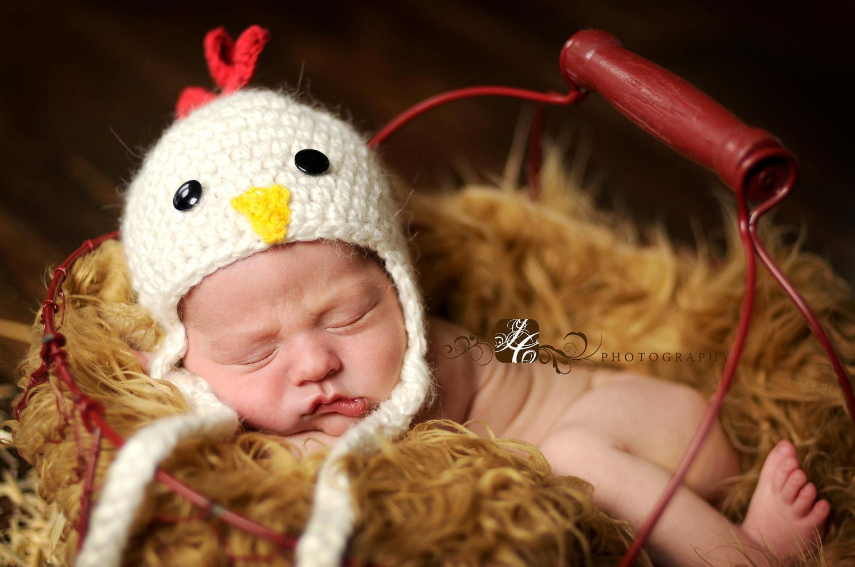 Newborn Crochet Chicken Hat Pattern : Crochet Baby Chicken Hat. Photo Prop Newborn to 4T