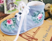 SALE // Shabby  Roses Painted Baby Shoe COTTAGE // TREASURY List // Ooak Hand Painted Decorative /// Now 20% Off
