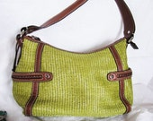 Fossil Hand Bag PURSE // CHARTREUSE Brown //  Texture // Basket Weave 1980's Original FOSSIL Fob