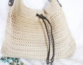 Reserved -- SALE - SAK  Drawstring Bucket  Bag Handbag Purse Crochet - Boho Retro Hippie - 1980s-90s Treasury