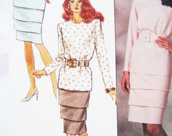 Pattern Butterick 6928 Top Skirt Sewing EASY  // NEW Factory Folds // Miss 8 10 12 //  BEGINNER Friendly // 1988