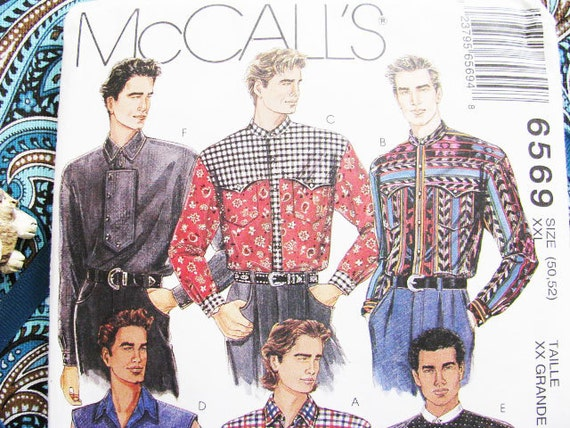 Men's Shirt  Pattern McCall's 6569 Sewing Cowboy Western ROCKABILLY 1993 // NEW // Factory Folds // Size XXL