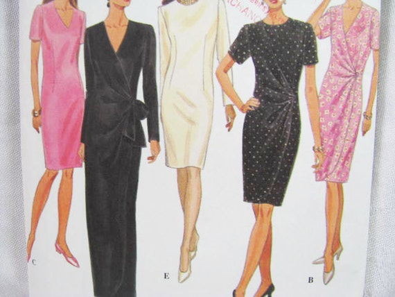 Pattern Simplicity 9352 Dress Sewing  NEW - FACTORY Folds - Miss 12 14 16 Drape Front