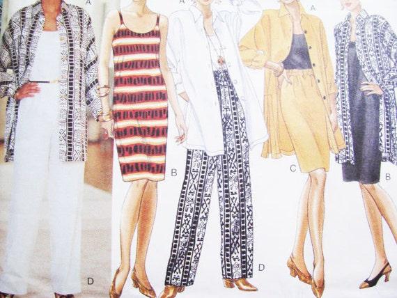 Pattern Dress Casual Butterick 3909 Top Shirt Skirt  Pants FAST & EASY// NEW // Factory  Folds // 1995 Beg. Friendly Sz 12 14 16