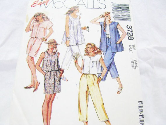 Pattern Top Pants Shorts McCall's 3728 Sewing Casual  // EASY SUMMER // New Factory Folds // BEGINNER Friendly // 1988 Miss Small- Sz 10 12