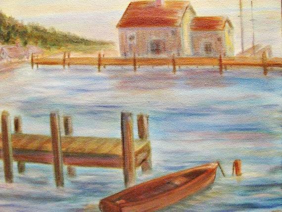 Art Painting  NAUTICAL Lake BOAT Dock Canvas  ORIGINAL  Aqua Pink Pastel Colors - Treasury Item - Wall 16 x 20