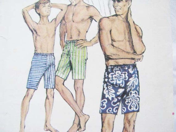 Vintage Men's Shorts or Swimming Trunks Butterick 3960 Pattern Extra Quick 'N Easy 1950's