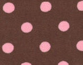 """Fabric Finders Brown and Pink Dot 60"""" Wide 1yd."""