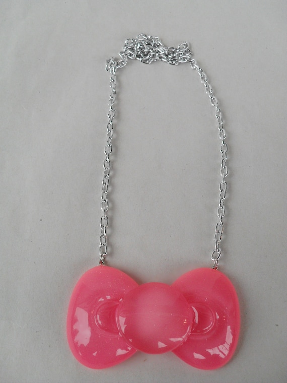 Pink Hello Kitty Bow Necklace