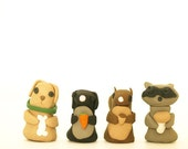 Four clay creations cards... racoon bunny carrot wood stick puppy dog collar green black silver squirrel acorn mushroom bone adorable