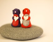 set of two bunnies.... purple and red.. heart pink valentines adorable v-day silver fortheband