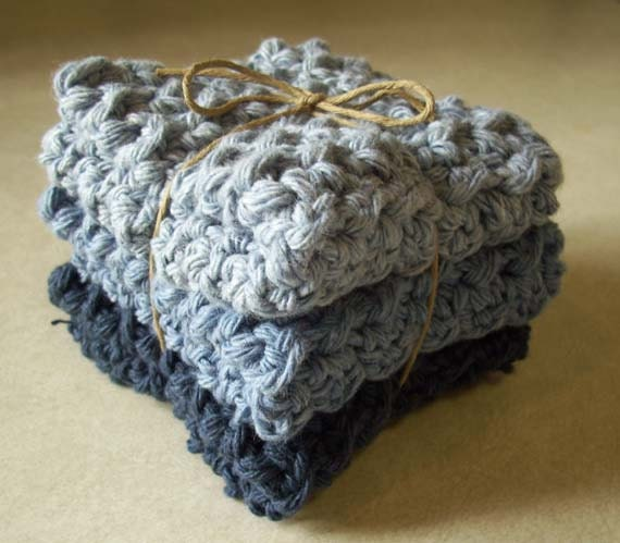 Cotton Crocheted Washcloths - Set of 3 in Denim Colors