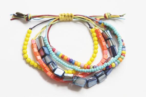Colorful Waxed Cord Beaded Beachy Boho Bracelet