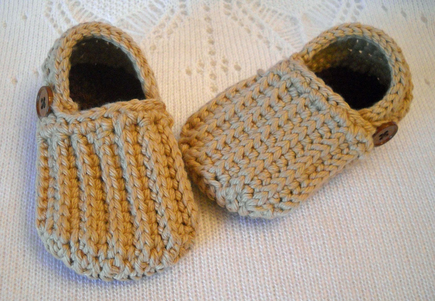 Crocheted Baby Boy Booties Shoes Brown Tan Lazy Day Slippers