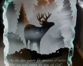Etched Glass Buck Whitetailed Deer Luminary - LED Edgelit Base - Lit Art Glass