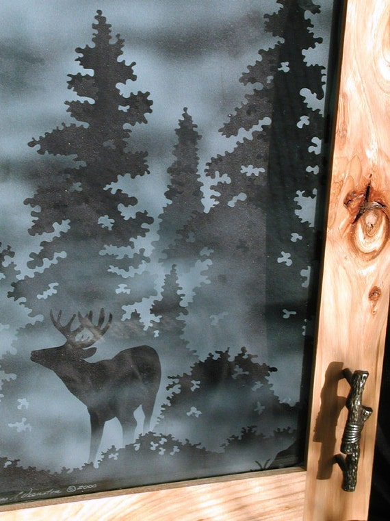 Etched Deer and Geese Cabinet Glass