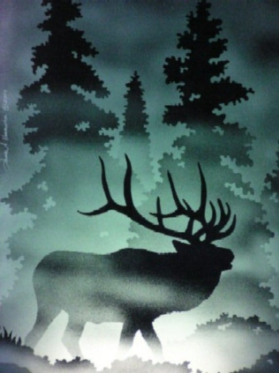 Etched Elk (or other wildlife) Cabinet Glass