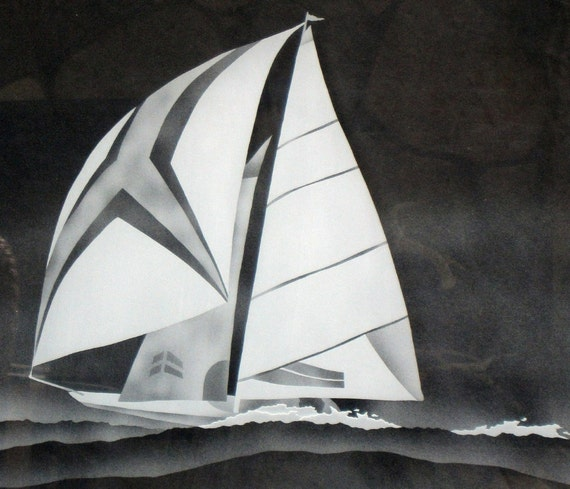 Etched Sailboat Cabinet Glass